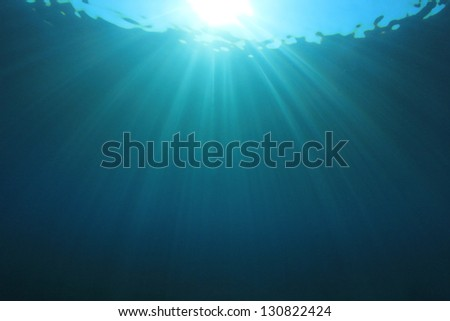 Abstract Underwater Background Photo of Sunbeams - stock photo
