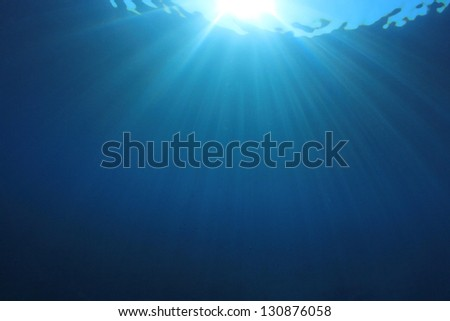 Abstract Underwater Blue Background Photo - stock photo