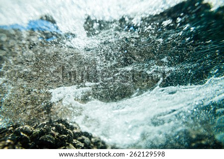 abstract underwater clear sea foam bubbles and bokeh texture background - stock photo