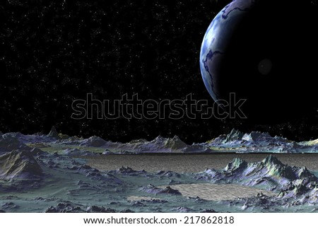 Abstract unknown planet in deep space