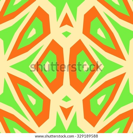 Abstract unusual beige green orange cubist digitally rendered pattern - stock photo