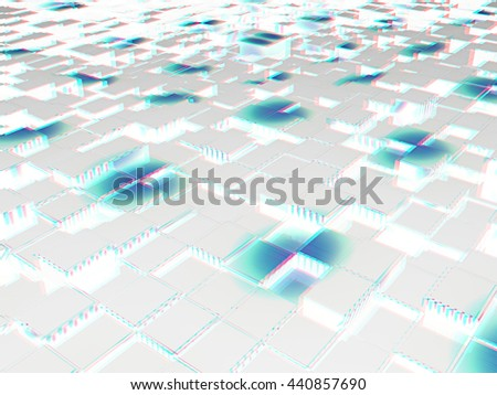 Abstract urban background. 3D illustration. Anaglyph. View with red/cyan glasses