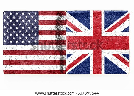 abstract USA and UK flag on wood block on isolate background - can use to display or montage on product