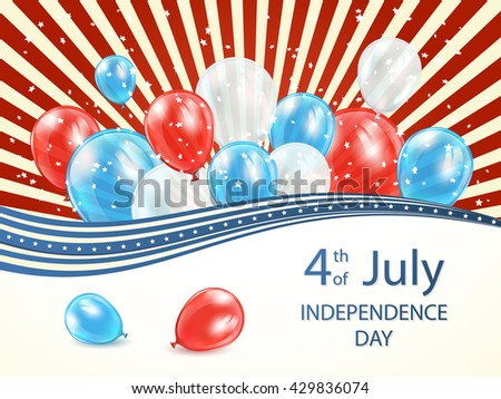 Abstract USA Independence day background 4 of july with lines, stars and colored balloons, illustration. - stock photo
