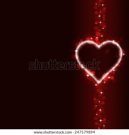 abstract valentine red background with blurred lights and hearts
