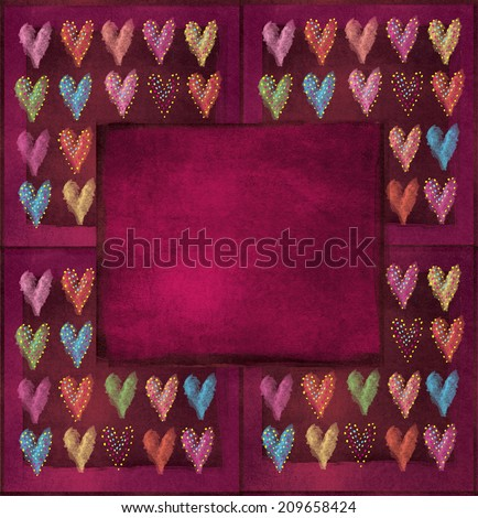 Abstract valentines heart, patterns, card, painting with place for your text. May be used for a graphic art, as a greeting or gift layout, web template, wallpaper, cover, textile, wrapping paper.
