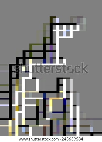 Abstract varicolored framework of bars, like a partial outline of a skyscraper, on light gray background