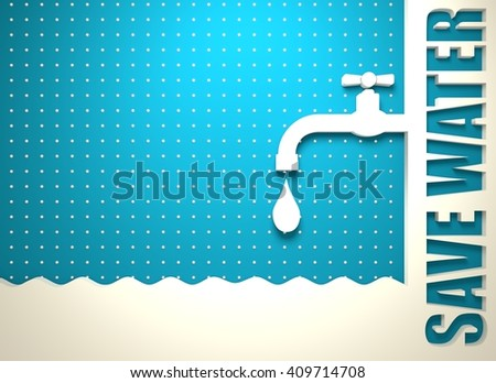 Abstract vector background. Water conservation concept. Ecology Saving. 3D rendering - stock photo