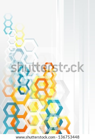 Abstract vertical background with colorful hexagons. Raster version.