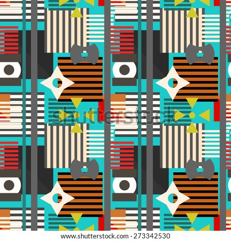 Abstract vibrant geometric seamless pattern. Circles, squares, stripes, lines. Repeating background texture. Cloth design. Wallpaper, wrapping - stock photo
