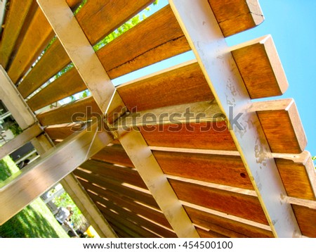 Abstract View - Detail Under Timber Seat (Macro / Close Up) - stock photo