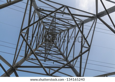 Abstract View Inside of a High Voltage electricity pole - stock photo
