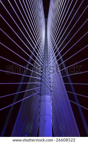 Abstract view of a suspension bridge - stock photo