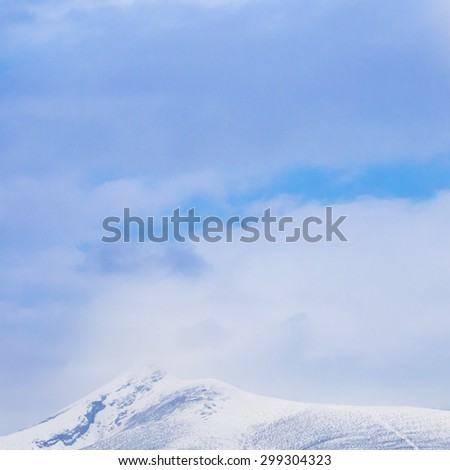 Abstract View of Blur Top of Hokkaido Komagatake with Blue Sky and Cloud