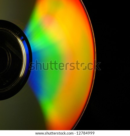 Abstract view of CD covered show light refractions