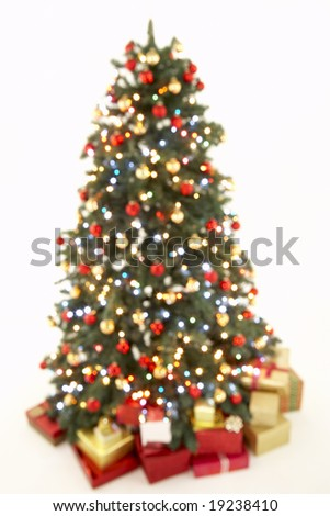 Abstract View Of Christmas Tree Against White Background