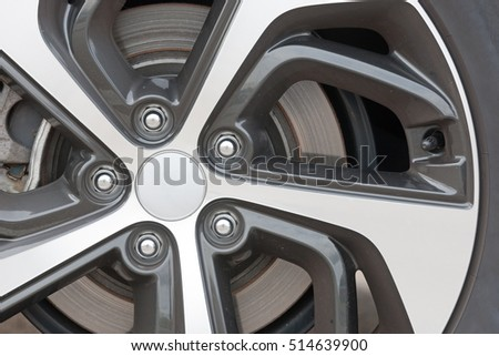 Abstract view of spokes on a rim from a sportscar