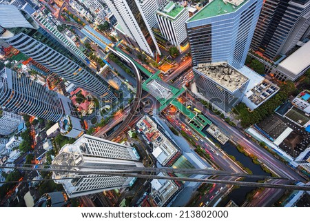 Abstract view of top city scape - stock photo