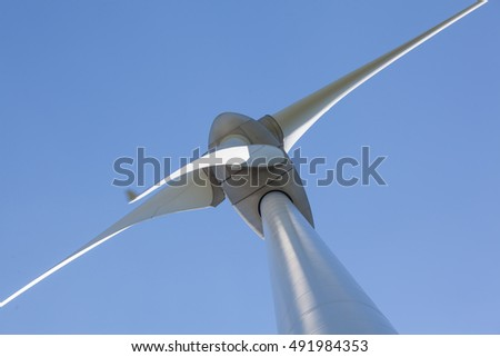 Abstract view of Wind turbine producing alternative energy
