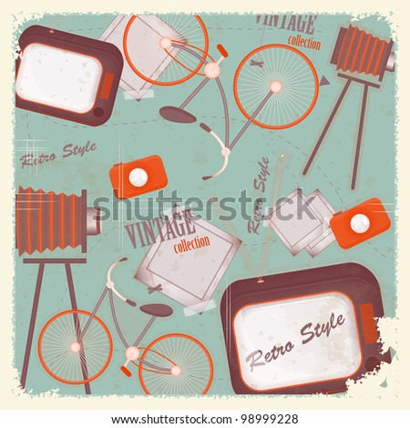 Abstract vintage background - retro items and cards - JPEG version