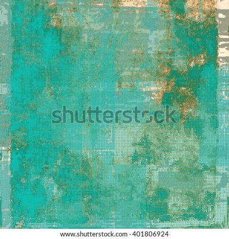 Abstract vintage background with faded grungy texture. Aged backdrop with different color patterns: yellow (beige); brown; blue; gray; cyan - stock photo