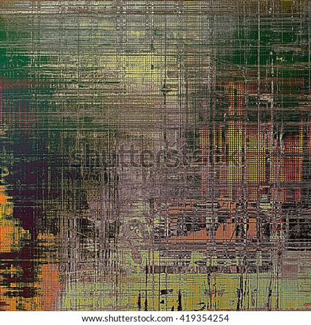 Abstract vintage background with faded grungy texture. Aged backdrop with different color patterns: yellow (beige); brown; red (orange); green; gray; pink - stock photo