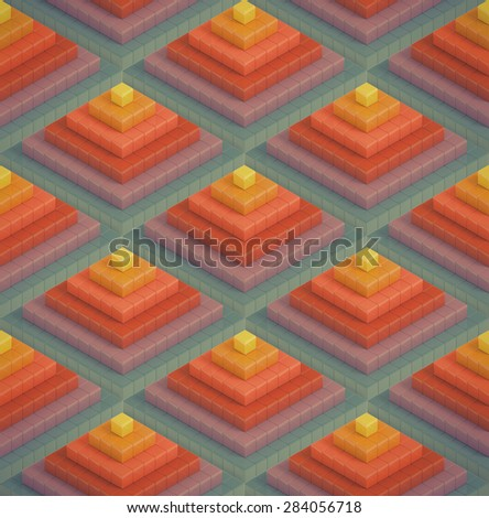Abstract vintage colorful geometric background - Seamless texture - stock photo