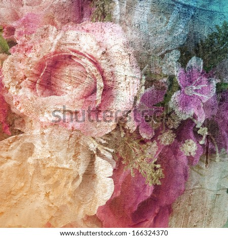 Abstract vintage flowers background with grunge texture background,autumn color background. - stock photo
