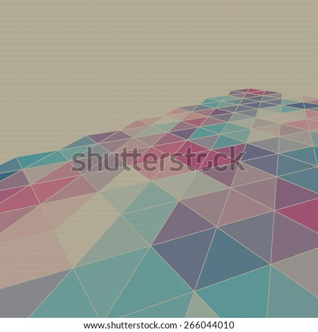 Abstract vintage geometric background with triangles on old textured paper. Raster version - stock photo