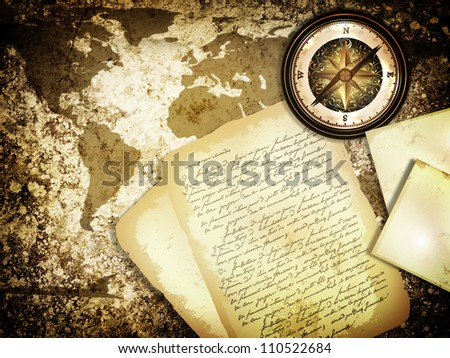 abstract vintage grunge travel background with world map, compass and old letter - stock photo