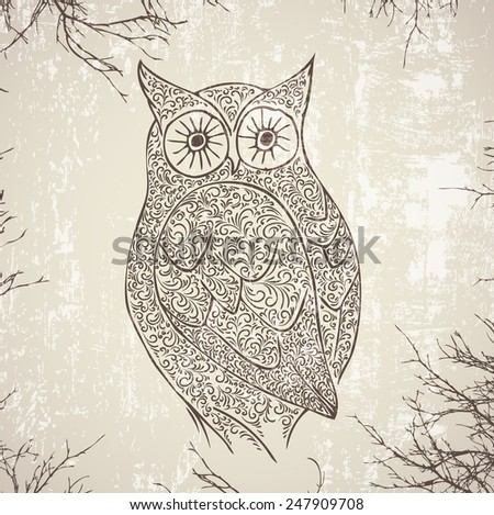 Abstract Vintage Owl Over Grunge Background - stock photo