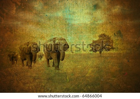 abstract vintage savannah landscape - stock photo