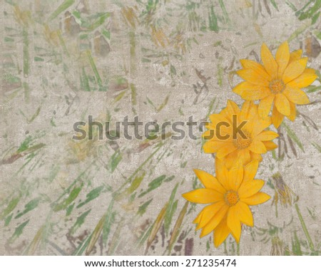 Abstract vintage textured background with three large yellow daisies and green strokes - stock photo