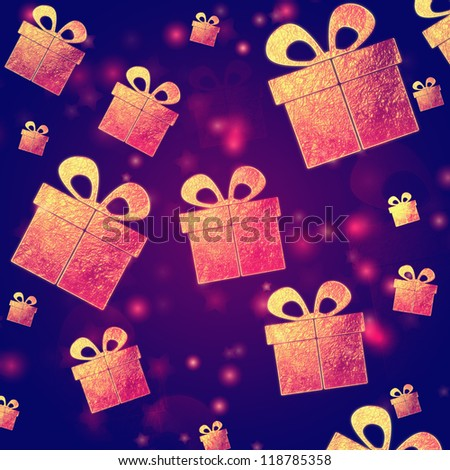 abstract violet background with golden presents boxes, christmas card - stock photo