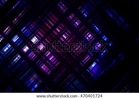 Abstract  violet fractal background with various color lines and strips illustration technology.