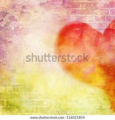 abstract wall, brick, cracked paint and heart. Vintage background image for design photo album, photo book with grunge texture.