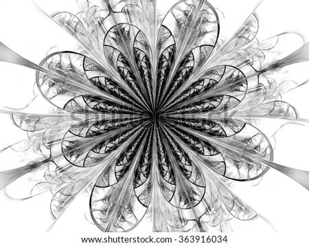 Abstract wallpaper. Abstract fractal. Fractal art background for creative design. Decoration for wallpaper, poster, cover booklet. Black and white fractal. Psychedelic. Print for clothes, t-shirt. - stock photo