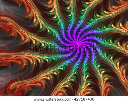 Abstract wallpaper. Abstract fractal. Fractal art background for creative design. Decoration for wallpaper desktop, poster, cover booklet, card. Psychedelic. Print for clothes, t-shirt. - stock photo