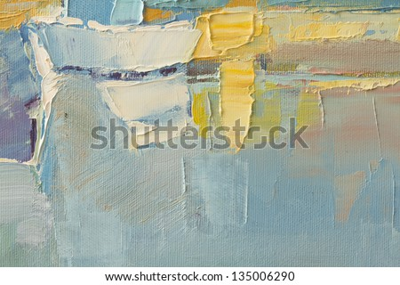 abstract wallpaper of oil painting with brush strokes in cool colors - stock photo