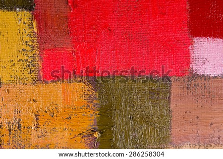 abstract wallpaper, texture, background of an original oil orange, red and brown painting on canvas with brush strokes.