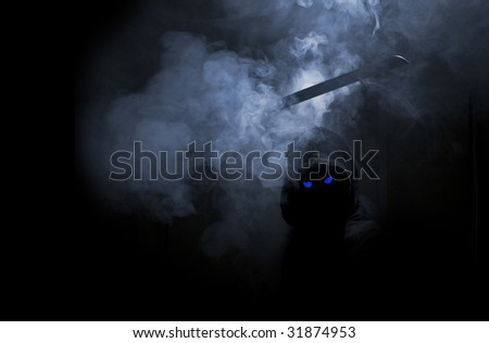abstract warior with blue eyes and blade - stock photo