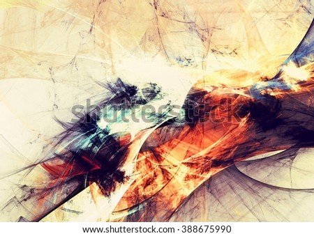 Abstract warm background. Modern futuristic pattern. Artistic bright color paints grunge texture. Fractal artwork for creative graphic design