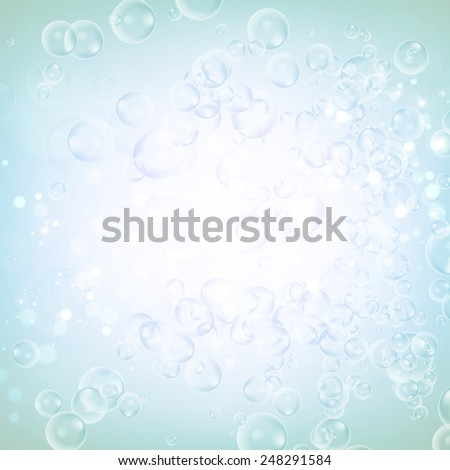 Abstract water bubble on blue blurred background.