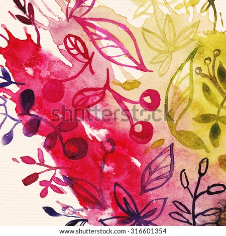 """Abstract water color background with autumn leaves. Album """"Autumn surfaces"""". - stock photo"""