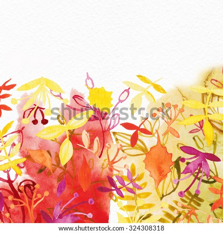 """Abstract water color background with autumn leaves. Album """"Autumn surfaces"""".Watercolor Retro pattern with trees. Tree Pattern.   - stock photo"""