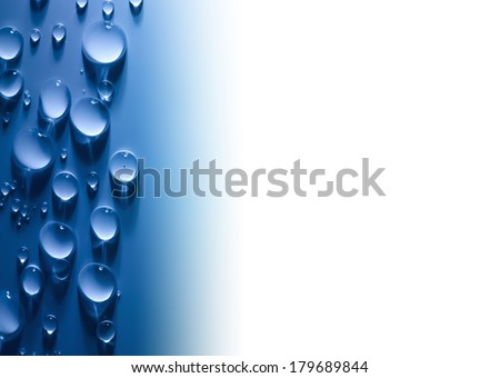 Abstract  Water Drops Background with Beautiful Light and Shadows / copy space  / focus on the center - stock photo