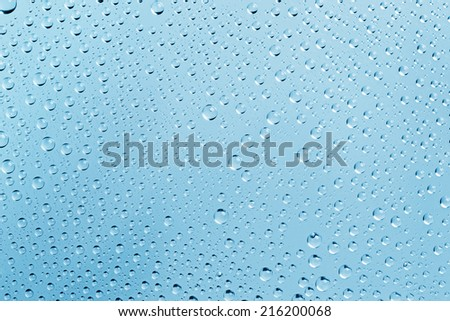 Abstract Water Drops Light-blue Background with Beautiful Light and Shadows -  focus on the center - stock photo