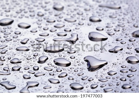 abstract water drops on polished stainless steel surface, close up