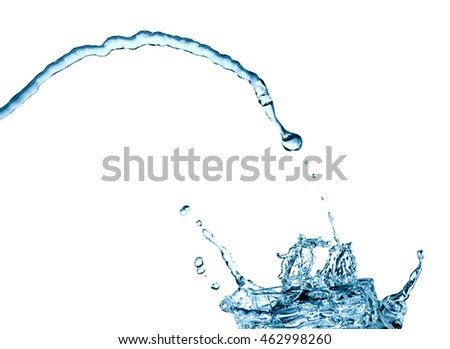 Abstract water jet with splash on white background
