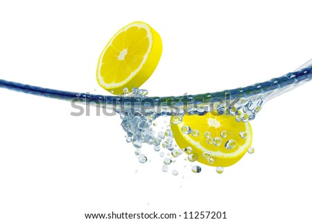 Abstract water, splash and lemon